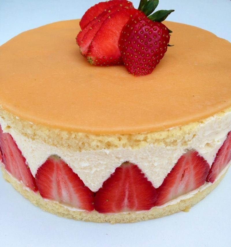 Fraisier tarta de fresa y crema mousseline my european cakes - Postres con fresas naturales ...